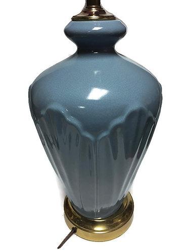 Post Modern Memphis Style 1980s Table Lamp Ceramic Blue Large Desk Light