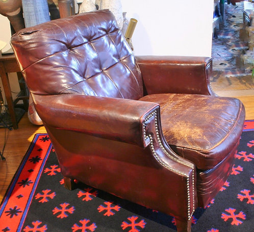 1920's Antique Leather Horsehair Bamberger & Co. Club Chair