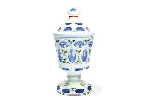Bohemian White Layer On Blue Overlay Cut to Clear Covered Footed Urn Jar