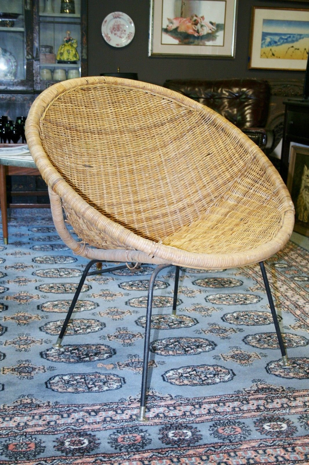 Sensational Mid Century Modern Rattan Patio Scoop Basket Chair Uwap Interior Chair Design Uwaporg