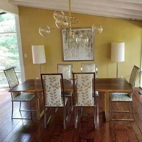 Retro 1970s Upholstered Chrome Dining Chairs