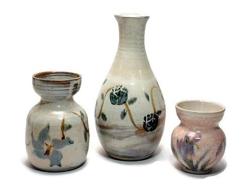 3 Peggy Fasullo Studio Pottery Virginia Art Ceramics 1980's Bulb Vases