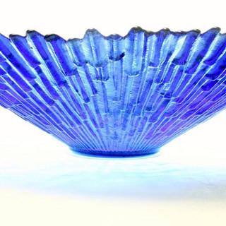 Large Blue Glass Centerpiece Bowl
