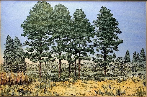 Conwell Savage (1907-1996) Fine Art Watercolor Painting PA Abstract Landscape