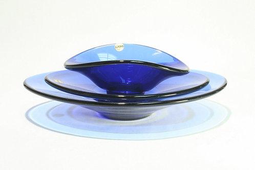 Trio of Vintage 1960's Era Holmgaard Bowls in Cobalt