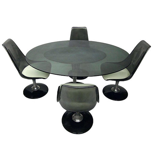 Retro Chromcraft Smokey Glass Oval Table & Lucite Chairs