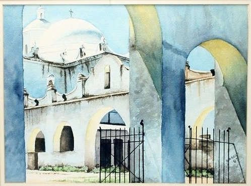 1967 Signed Watercolor - San Xavier Arizona - Fine Art Painting Modern