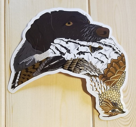 German Wirehaired Pointer w/Grouse Sticker