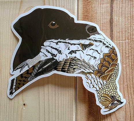 German Shorthaired Pointer (Liver) w/Grouse Sticker
