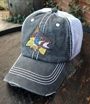 Brown Trout Kype Gray Trucker Hat