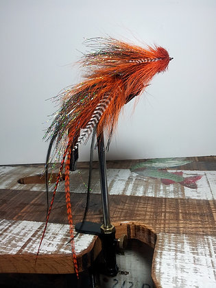 Musky Fly - Double - Orange, Black, & Brown