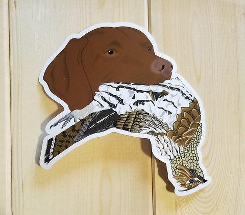 Vizsla w/Grouse Sticker
