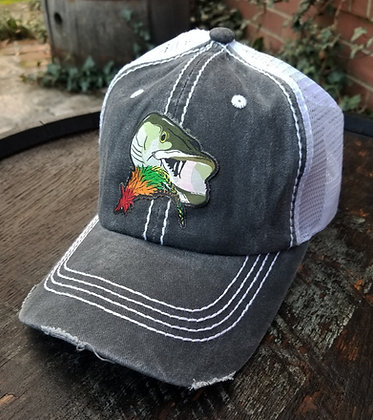 Musky with Fly Gray Trucker Hat