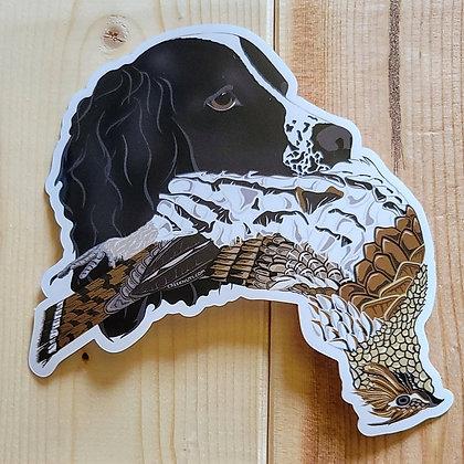 Black English Springer Spaniel w/Grouse Sticker