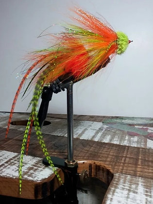 Musky Fly Double - Chartruese/Orange