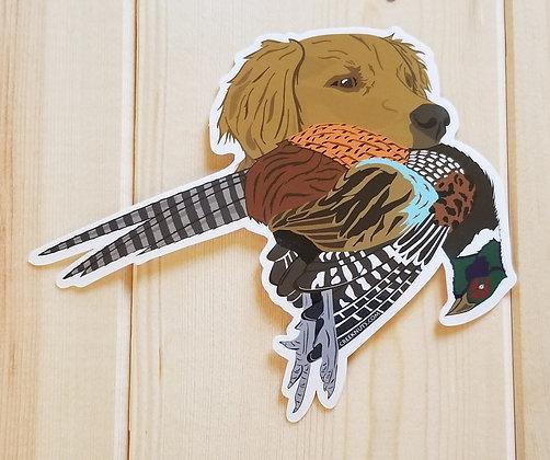 Golden Retriever w/Pheasant Sticker