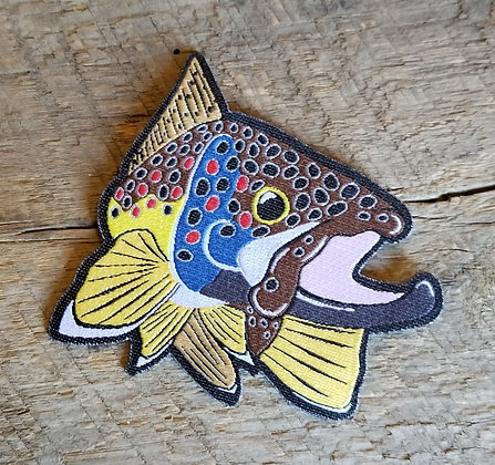 Brown Trout Kype Iron-On Patch
