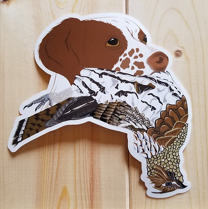 Brittany Spaniel w/Grouse Sticker