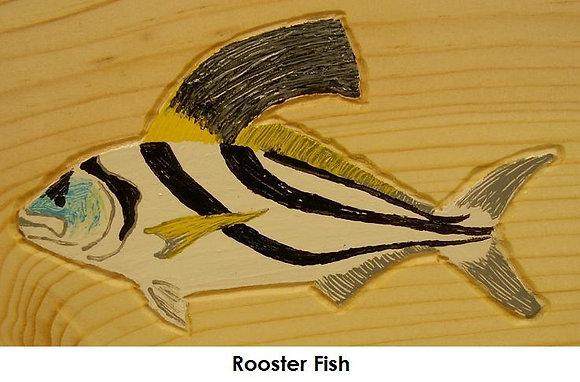 Hand-Painted Rooster Fish
