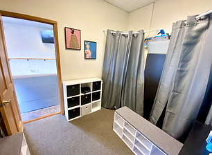 dancer changing room with storage and privacy curtains
