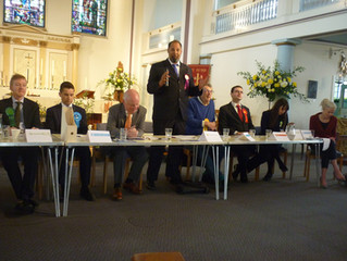Hustings at St Peter's Church, Walworth