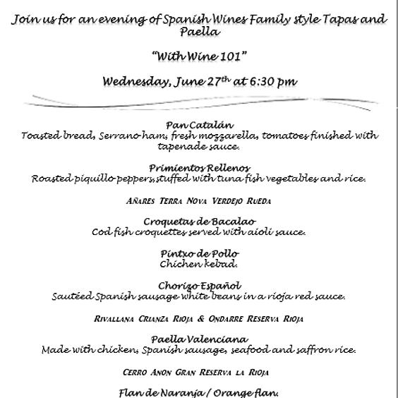 Spanish Tapas & Paella Dinner
