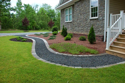 crushed stone walkway with solder course