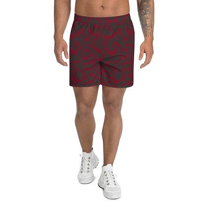 Men's Athletic Long Shorts Figures maroon & brown