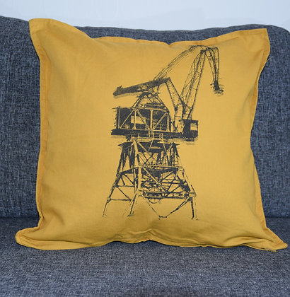Pillow cover Crane black & yellow