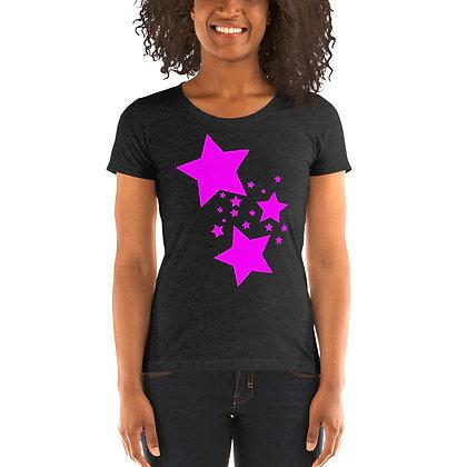 Ladies' short sleeve t-shirt Pink stars