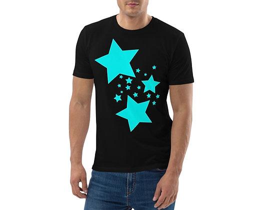 Men's organic cotton t-shirt Turqoise stars