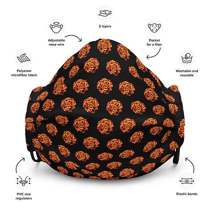 Face mask Marigolds pattern / black