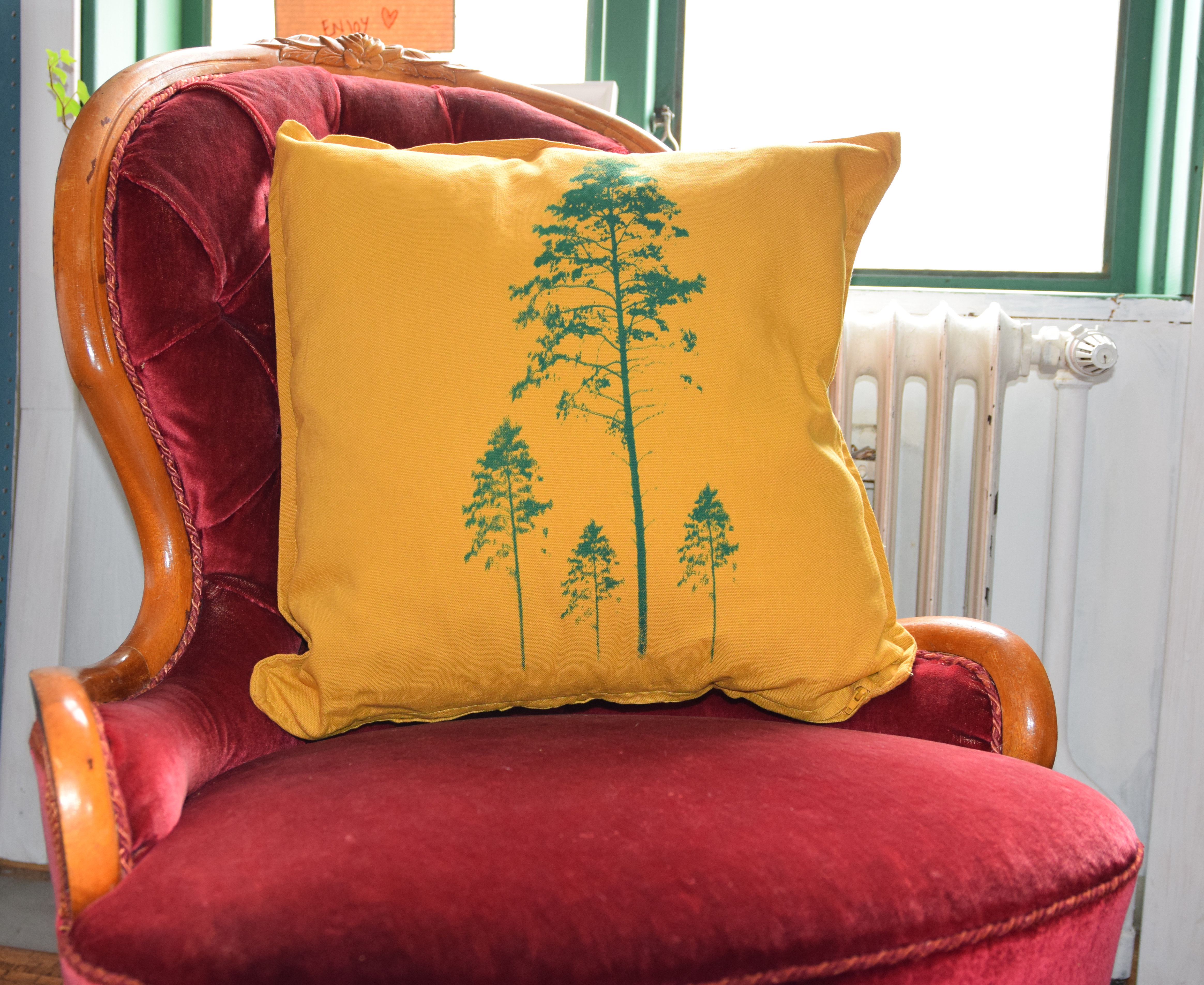 Pillow cover Pine trees yellow & green