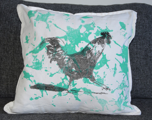 Pillow cover Happy Rooster black n white & green