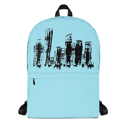 Light blue Backpack City cats  1