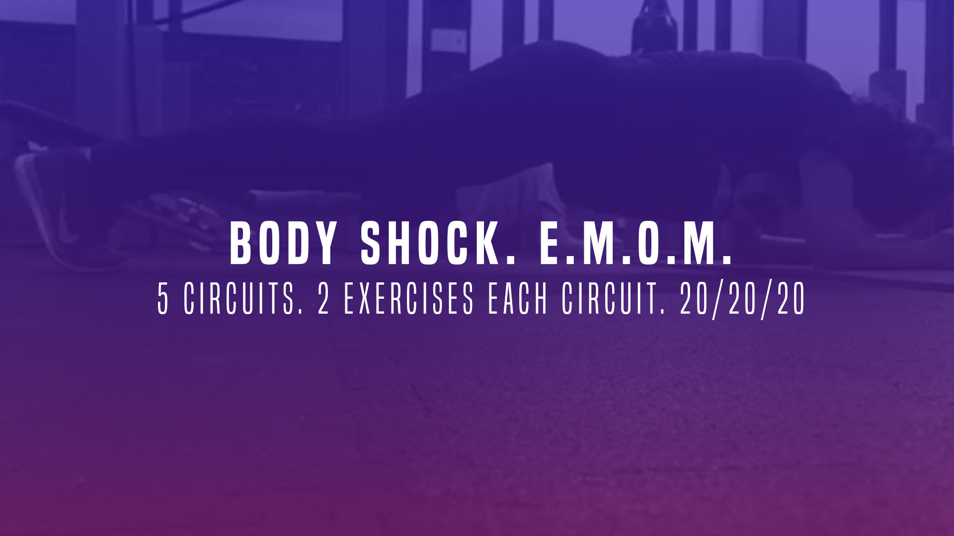 WOD 9: Body Shock. 5 Circuits. 2 Exercises each Circuit. 20/20/20