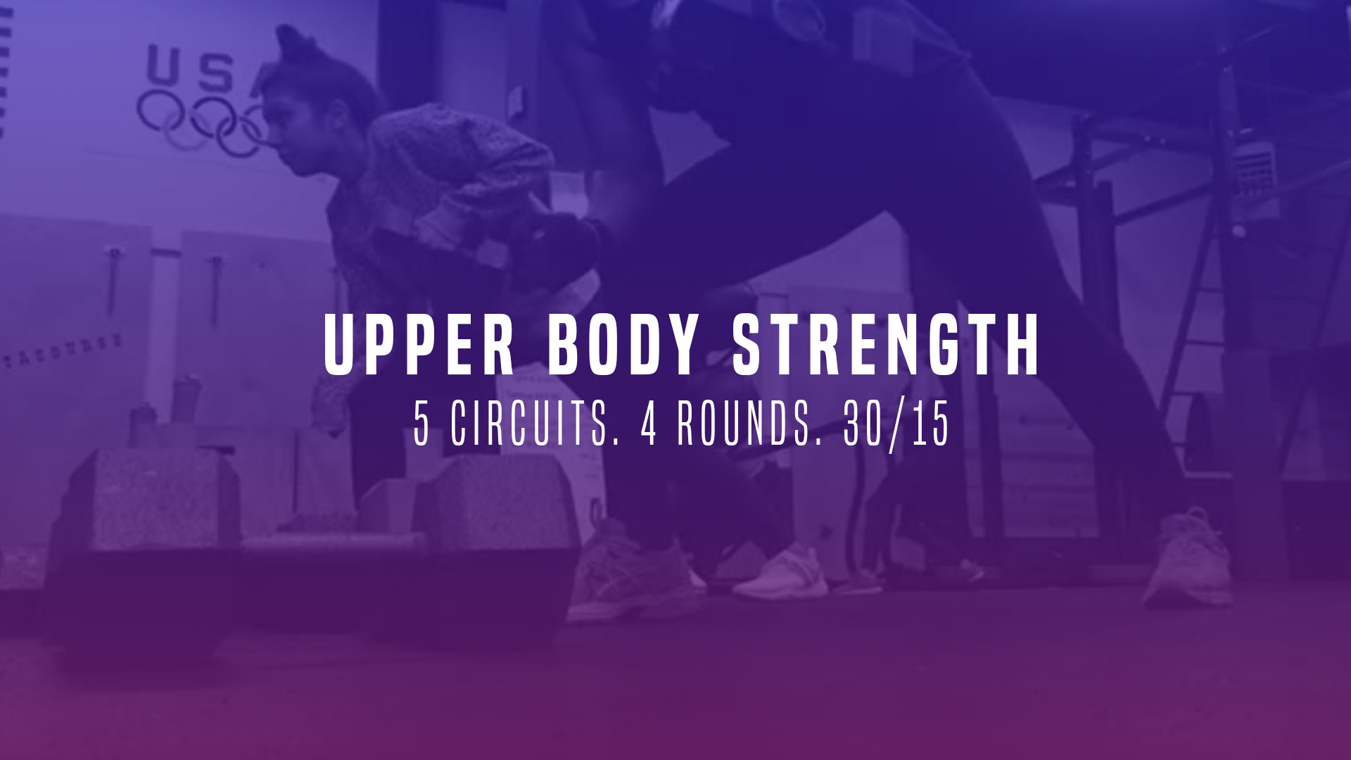 WOD 10: Upper Body Strength. 5 Circuits. 4 Rounds. 30/15