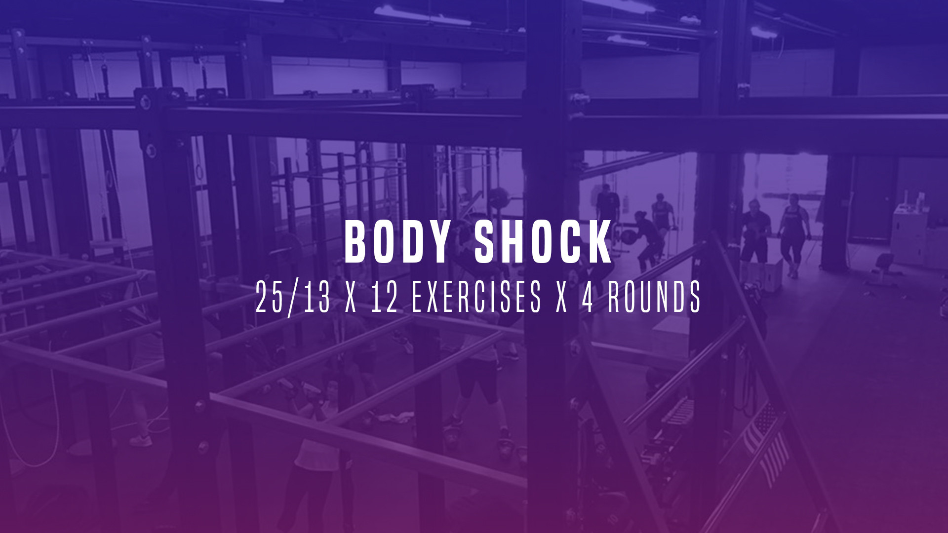 WOD 4: Body Shock 25/13 x 12 Exercises x 4 Rounds