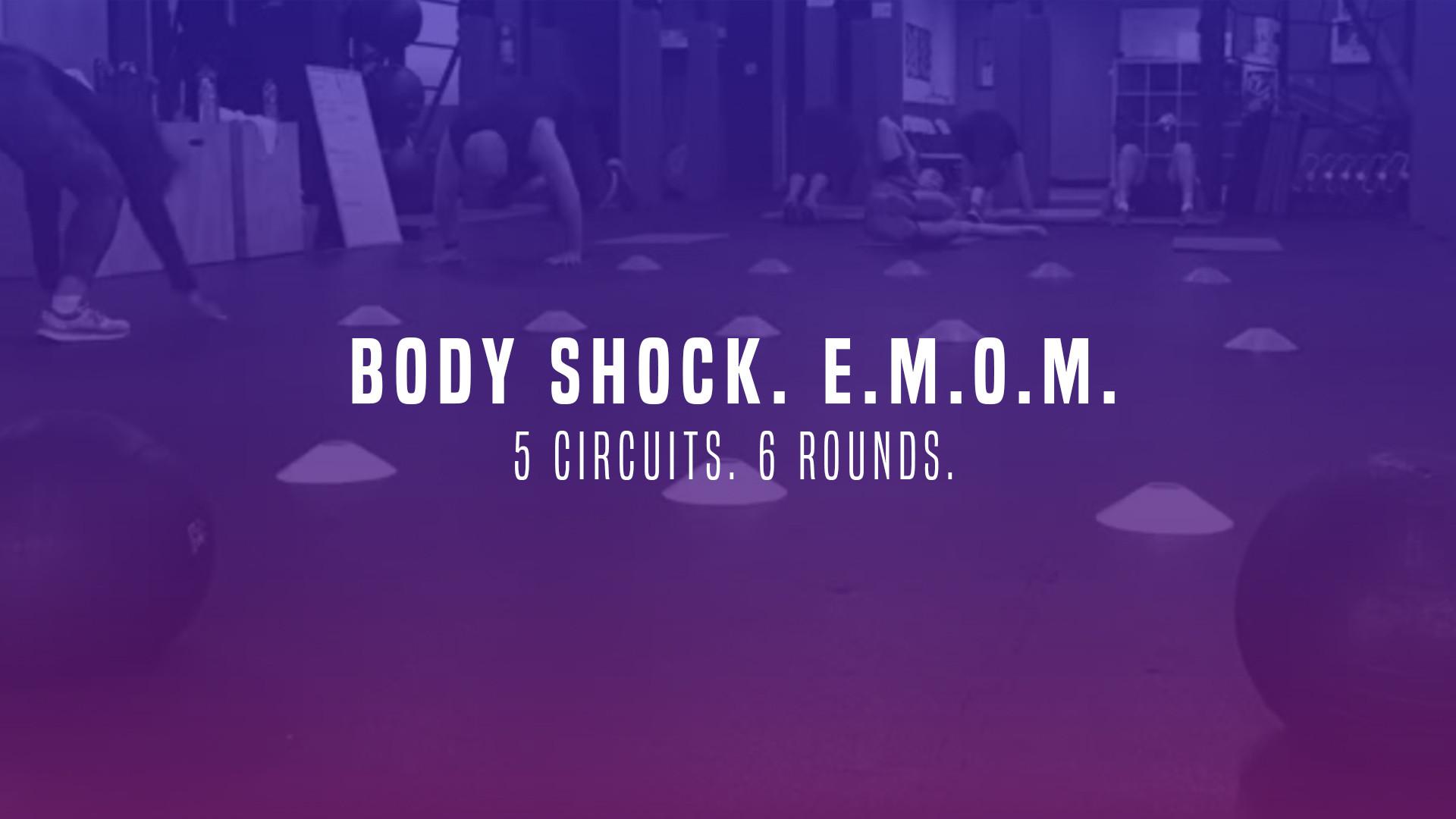WOD 13: Body Shock. E.M.O.M. 5 Circuits. 6 Rounds.