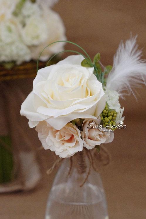 玫瑰小玫瑰羽毛襟花