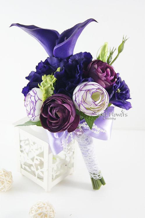 深紫馬蹄蘭小牡丹桔梗手紮絲花球
