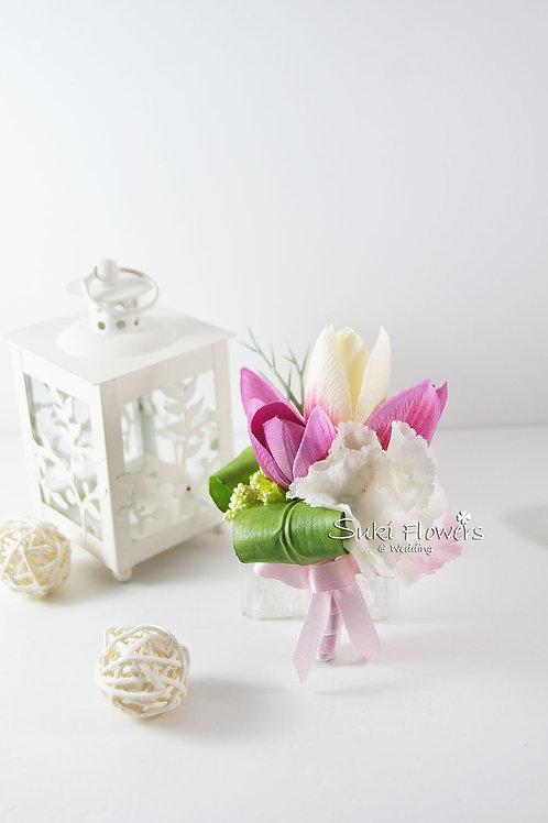 粉紅粉白鬱金香繡球襟花