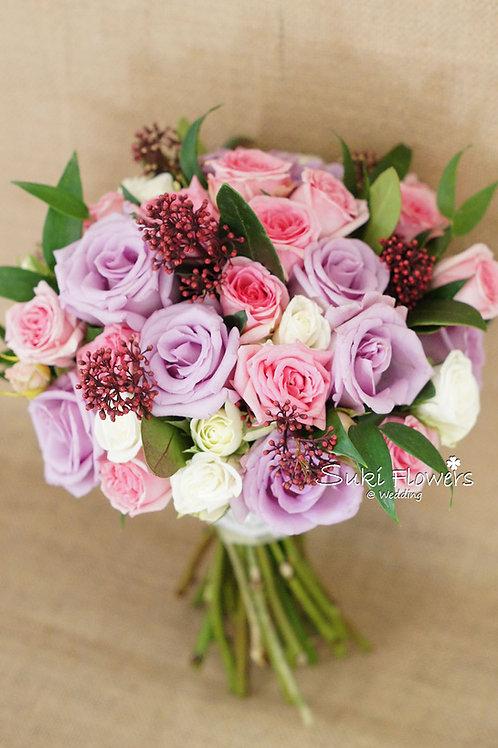 紫玫瑰小粉紅白玫瑰鮮花花球