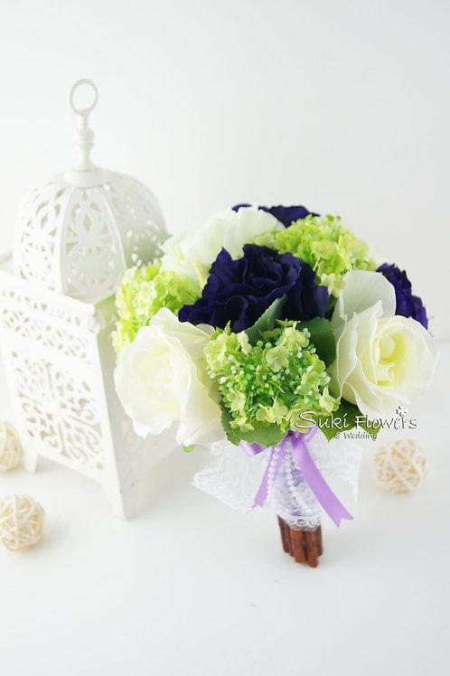 白色玫瑰紫桔梗小雪球絲花花球