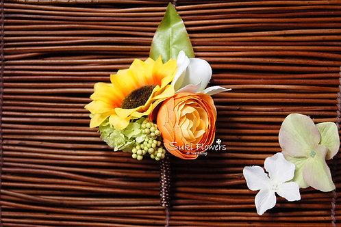 向日葵橙色小牡丹雞蛋花襟花