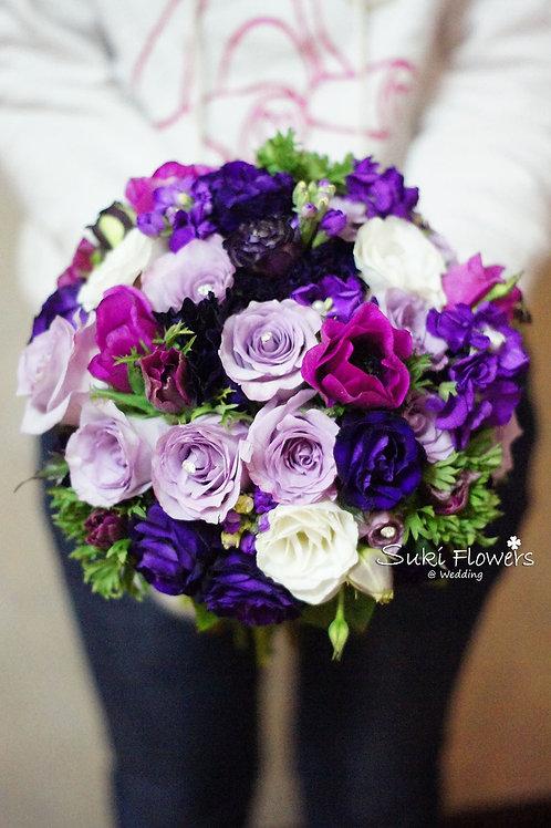 夢羅麗莎紫玫瑰桔梗鮮花花球