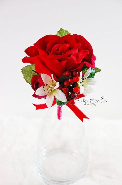 紅玫瑰紅豆小白花襟花