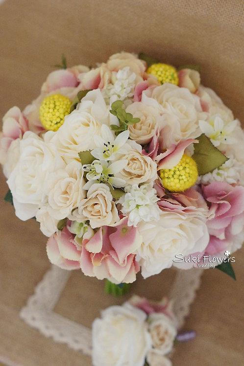 玫瑰黃金球繡球風信子仿真絲花花球