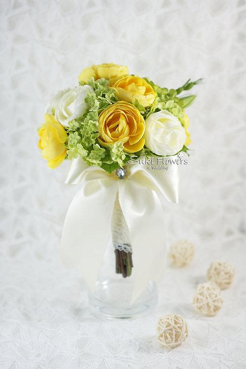 白色黃色雪球小牡丹手紮絲花球