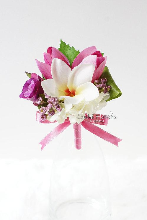 粉紅鬱金香雞蛋花小玫瑰絲花襟花